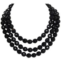 Miriam Haskell Black Beaded Multi-Strand Necklace