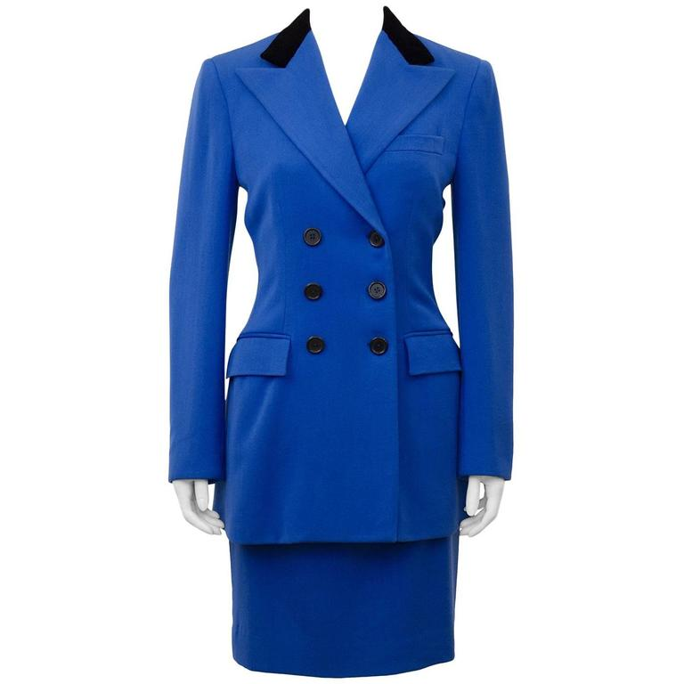 1980s Ralph Lauren Equestrian Inspired Royal Blue Skirt Suit