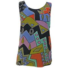 1990s Louis Feraud Pastels Abstract Top