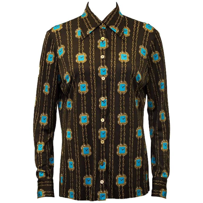 1970s Brown  Blouse with Clock Pattern