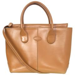 Tod's Camel Leather Classic D Tote Bag w/ Srap