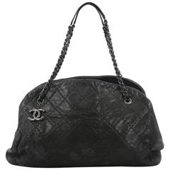 Chanel Just Mademoiselle Handbag Quilted Iridescent Leather Maxi