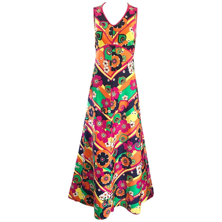 Amazing 1970s Colorful Flowers Stripes Sleeveless Vintage 70s Cotton Maxi Dress For Sale