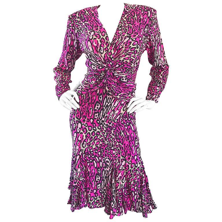Vintage Flora Kung Hot Pink Leopard 1980s Size 6 Blouse and Skirt 80s Dress Set