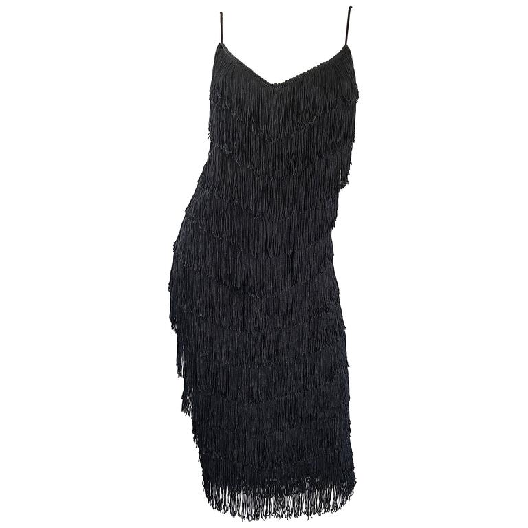 1970s Joy Stevens Fully Fringed 70s Does 20s Black Jersey Vintage Flapper Dress