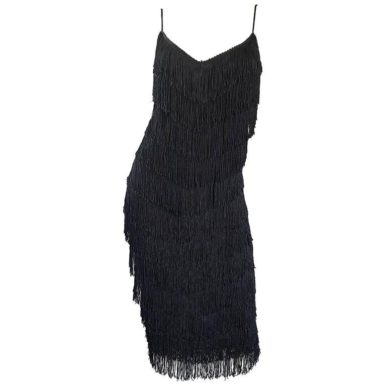 1970s Joy Stevens Fully Fringed 70s Does 20s Black Jersey Vintage Flapper Dress For Sale
