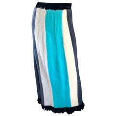 1960s French Made Teal Blue Gray Ivory Color Block Fringe Vintage Maxi Skirt
