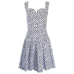 Givenchy Couture by Alexander McQueen Navy Blue + White Vintage Polka Dot Dress