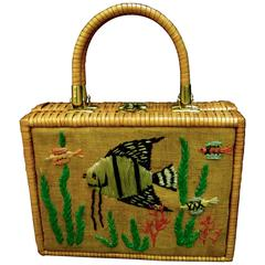 Whimsical Wicker Straw Embroidered Sea Life Handbag ca 1960