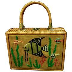 Whimsical Wicker Straw Embroidered Sea Life Handbag ca 1960