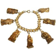 Seven Lucky Immortal Gods of Fortune from Japan Charm Bracelet ca 1960s
