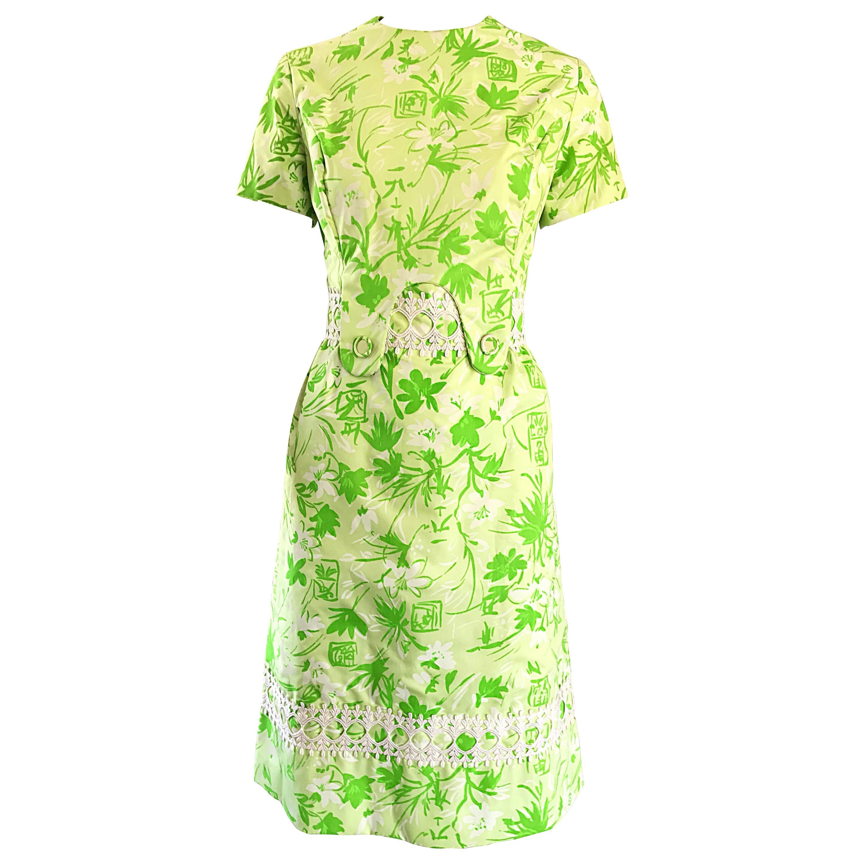 1960s Lilly Pulitzer Oriental Themed Neon Green Embroidered Cotton Vintage Dress