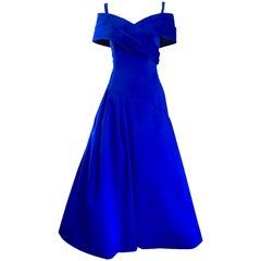Beautiful Victor Costa SAKS Vintage Royal Blue Silk Off - Shoulder Evening Gown