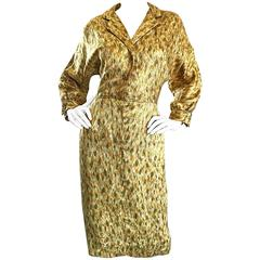 1950s Norma Morgan Gold + Chartreuse Green + Bronze Silk Vintage 50s Dress