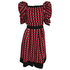 Vintage Saint Laurent red polkadot blouse and skirt ensemble