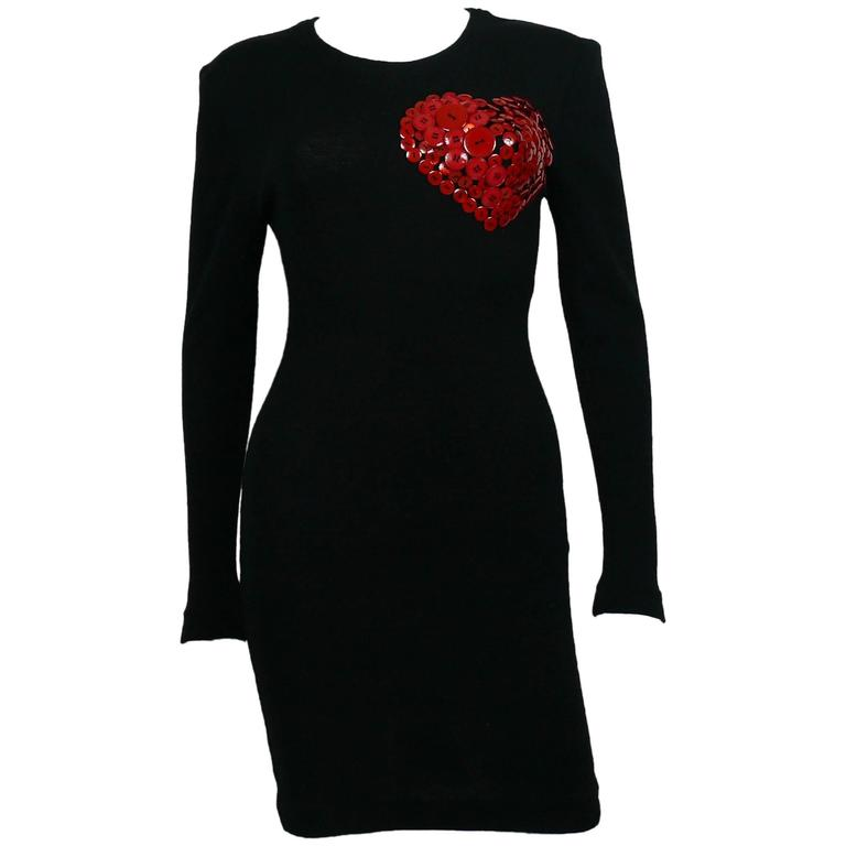 Patrick Kelly Vintage 1980s Black Wool Iconic Dress Heart Buttons