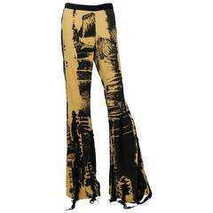 Jean Paul Gaultier Grunge Style Silk Flared Trousers USA Size 10
