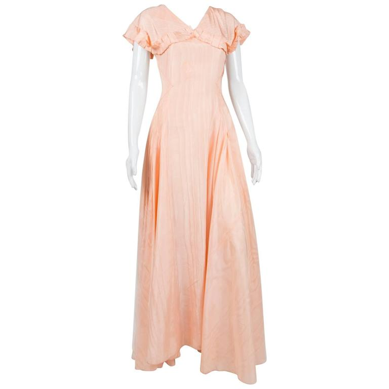 1940s Light Pink Maxi Taffetas Silk Dress