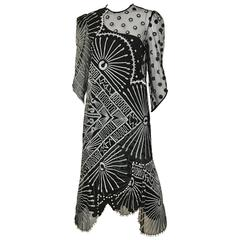 Vintage 1980s Zandra Rhodes black and gray print dress with with pearls