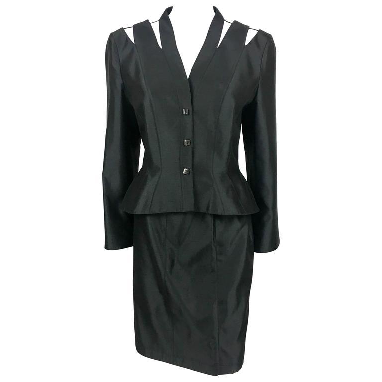 1990s Thierry Mugler Slashed Shoulders Black Silk Skirt Suit