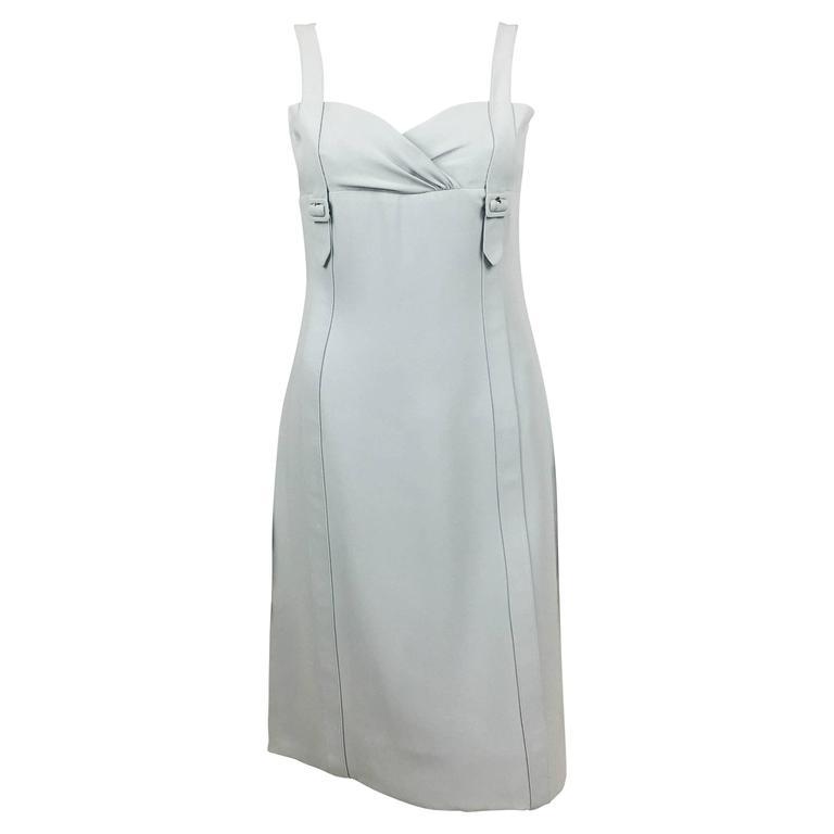 Valentino Pale Blue Silk Dress For Sale
