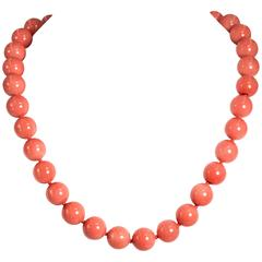 Fabulous Faux Mediterranean  Shade Coral Bead Necklace