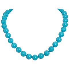 Fabulous Faux Sleeping Beauty Shade Turquoise Bead Necklace