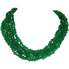 Vintage Bergdorf Goodman Chic French Faux Emerald Bead Torsade Necklace