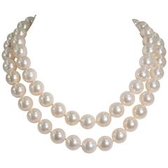 Audrey Hepburn Style Two Row 14 mm Pearl Nested Necklace.