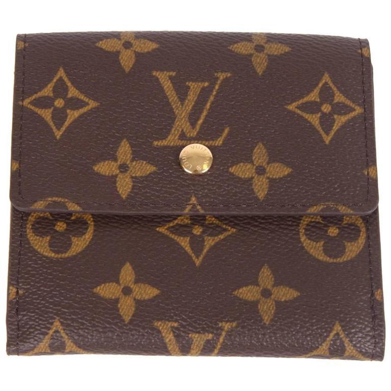 Louis Vuitton Elise Double Flap Monogram Wallet - dark brown