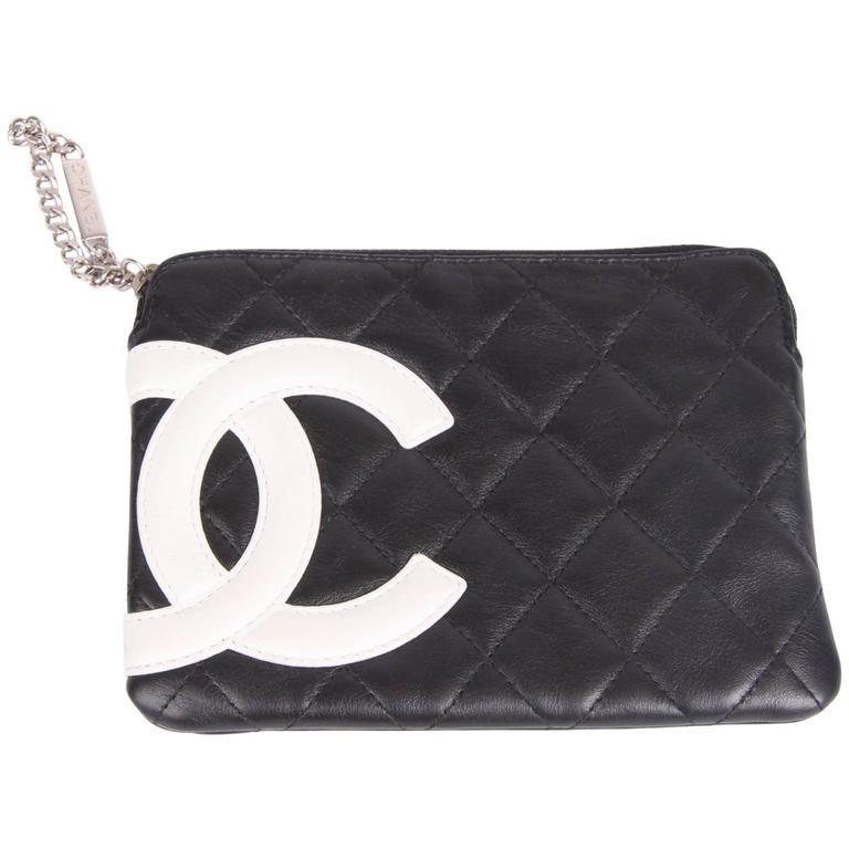 Chanel Ligne Cambon Zip Pouch - black/white
