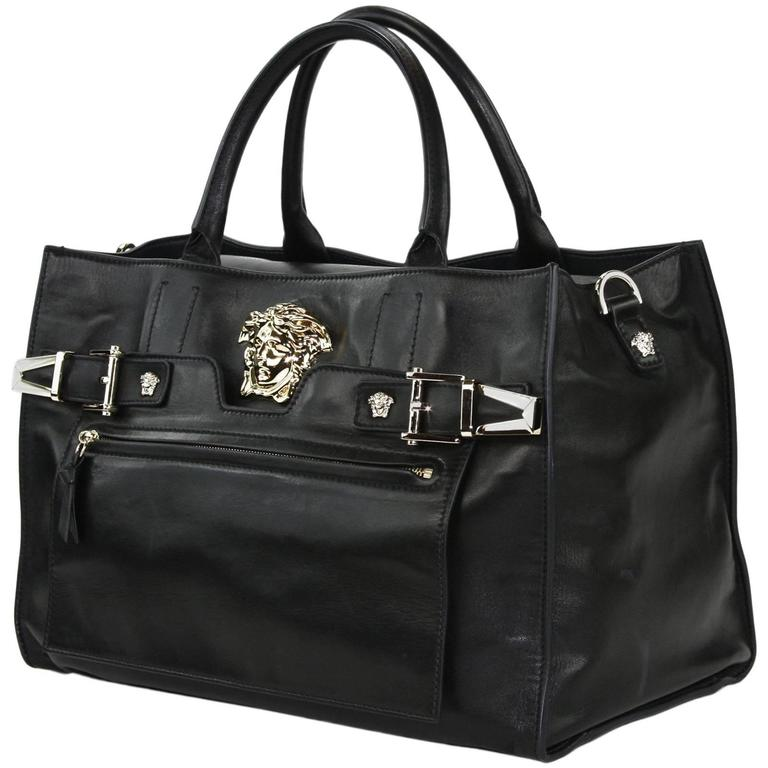 9668671bf8 New Versace Palazzo Large Black Leather Shoulder Bag Handbag at 1stdibs