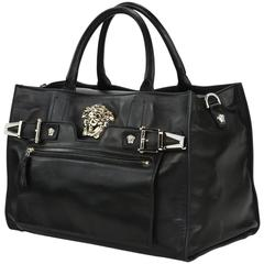 New Versace Palazzo Large Black Leather Shoulder Bag Handbag