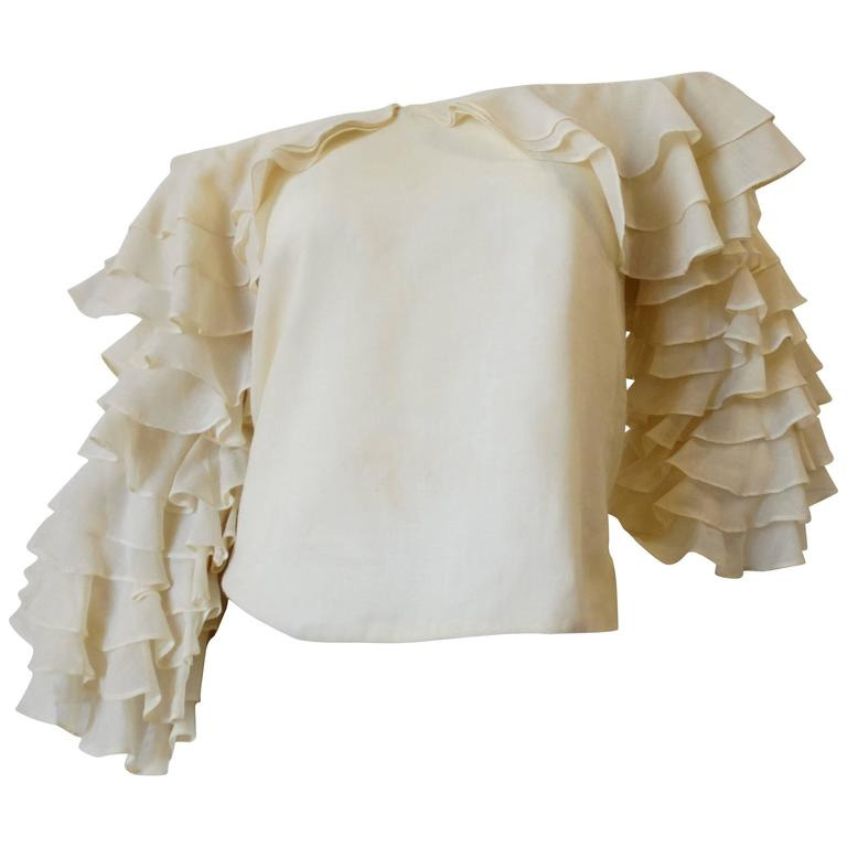1980s Flamenco Off The Shoulder Ruffle Top