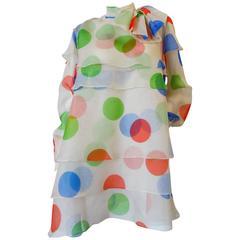 1980s Fong Leng Studio Polka Dot Chiffon Dress