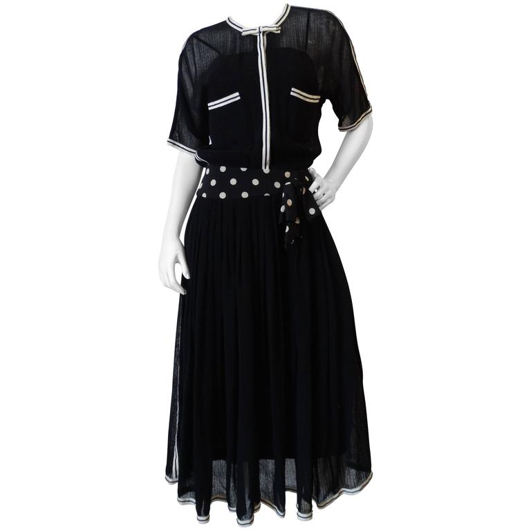 1980s Chanel Black Knit Dress For Sale