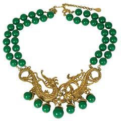 Auspicious Dragon Faux Jade Necklace