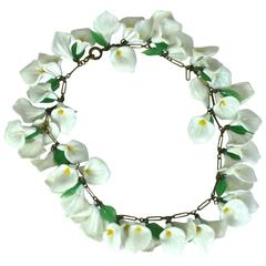 Italian Venetian Glass Calla Lilly Necklace