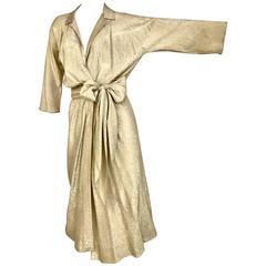 Vintage 1970s HALSTON Gold Metallic Lame 70s Wrap Cocktail Dress