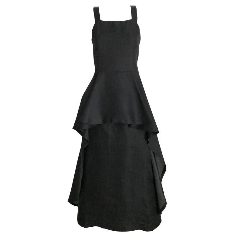 1970s Givenchy black silk organza gown