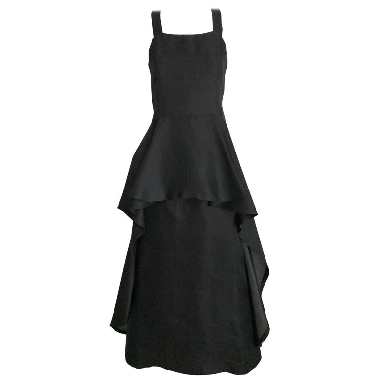 Givenchy black silk organza gown, 1970s  For Sale