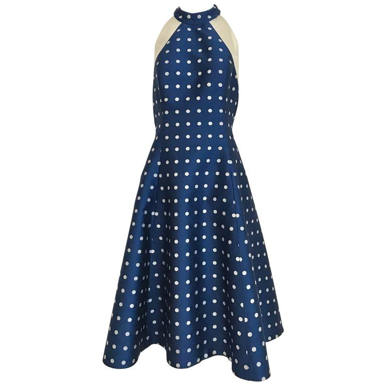 1950s blue and grey silk polkadot halter cocktail dress
