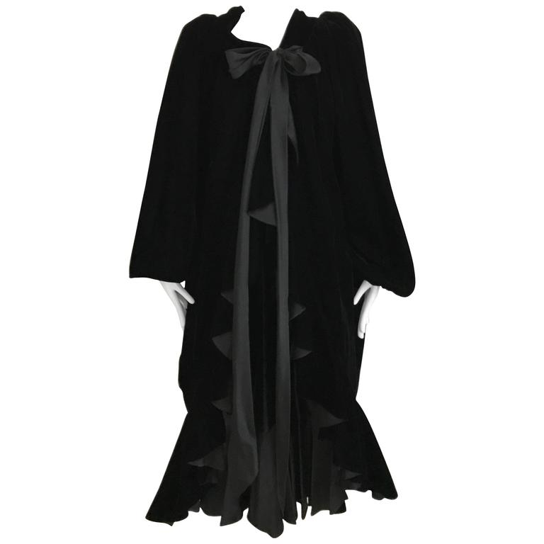 Vintage Yves Saint Laurent black  silk velvet evening coat  For Sale
