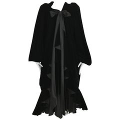 Vintage Yves Saint Laurent black  silk velvet evening coat