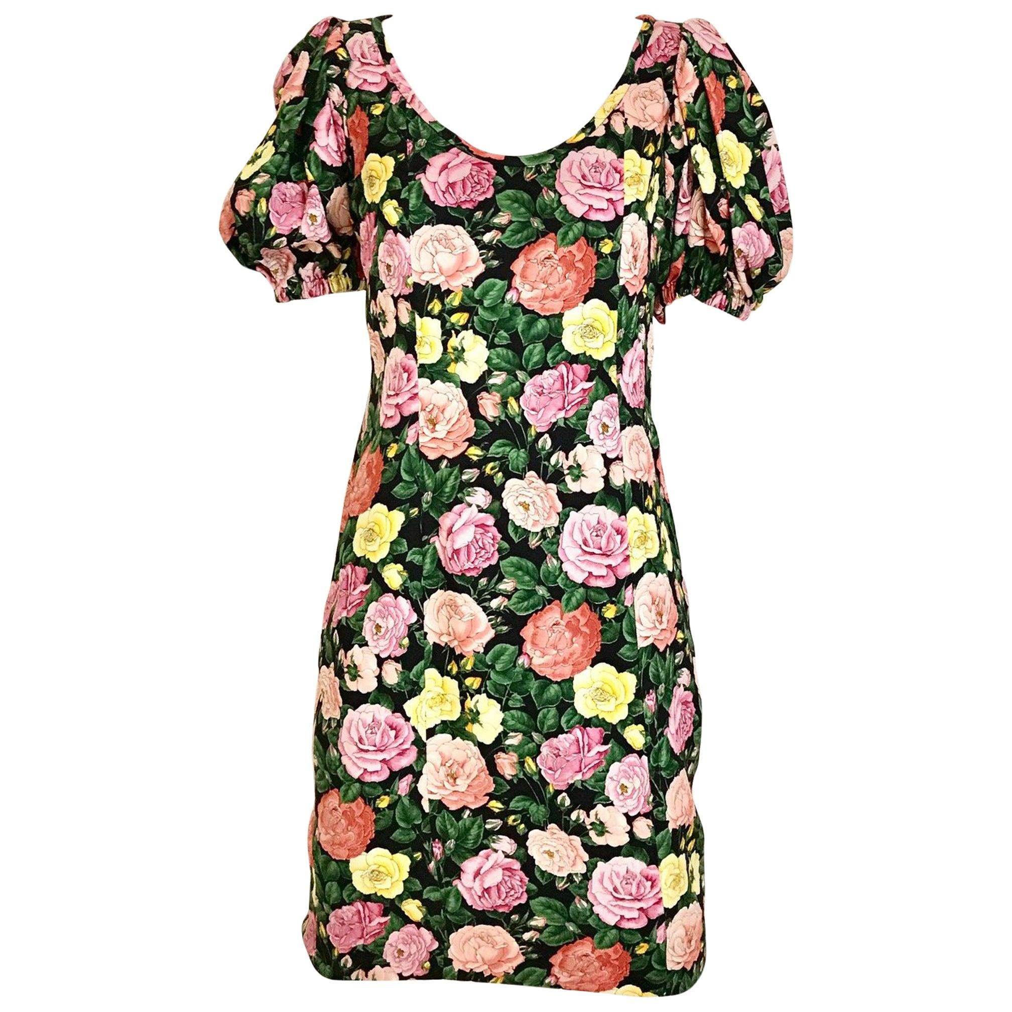 Vintage Yves Saint Laurent Floral Rose Print Cocktail Dress