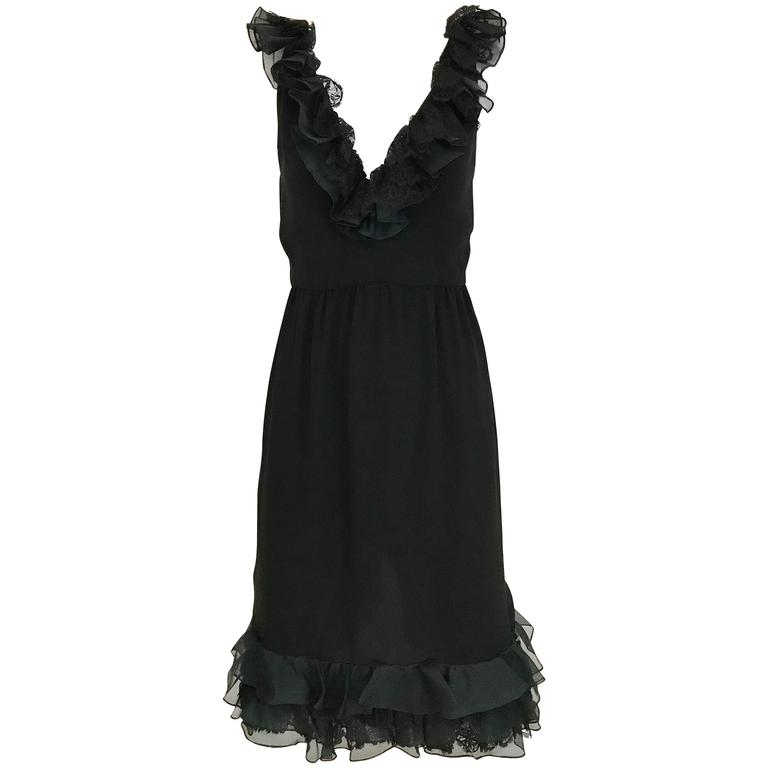 1980s Bill Blass Black crepe ruffle vintage  cocktail Dress