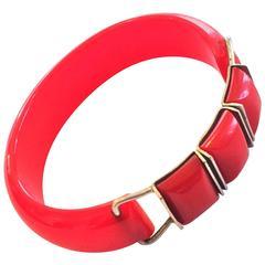 Art Deco lipstick red bakelite clamper hinged bakelite bracelet