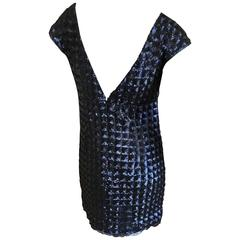 Chanel Vintage Navy Blue Sequin Quilted Mini Dress with Deep Vee Back
