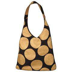 Paloma Picasso Graphic Black Shoulder Bag with Giant Gold Dots