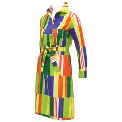 Vibrant 1970's Marimekko of Finland Geometric Cotton Shirt Dress